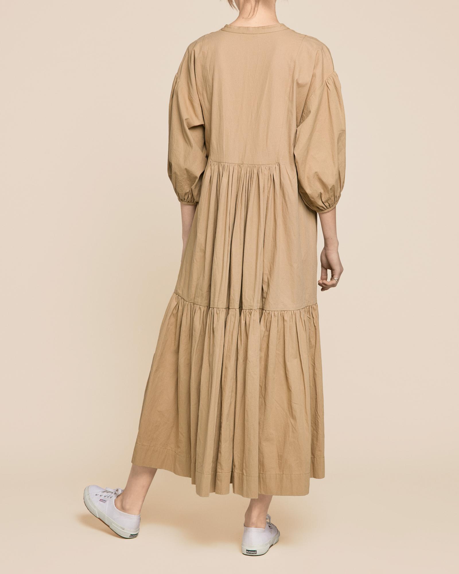 Structured Cotton Midi Dress Khaki