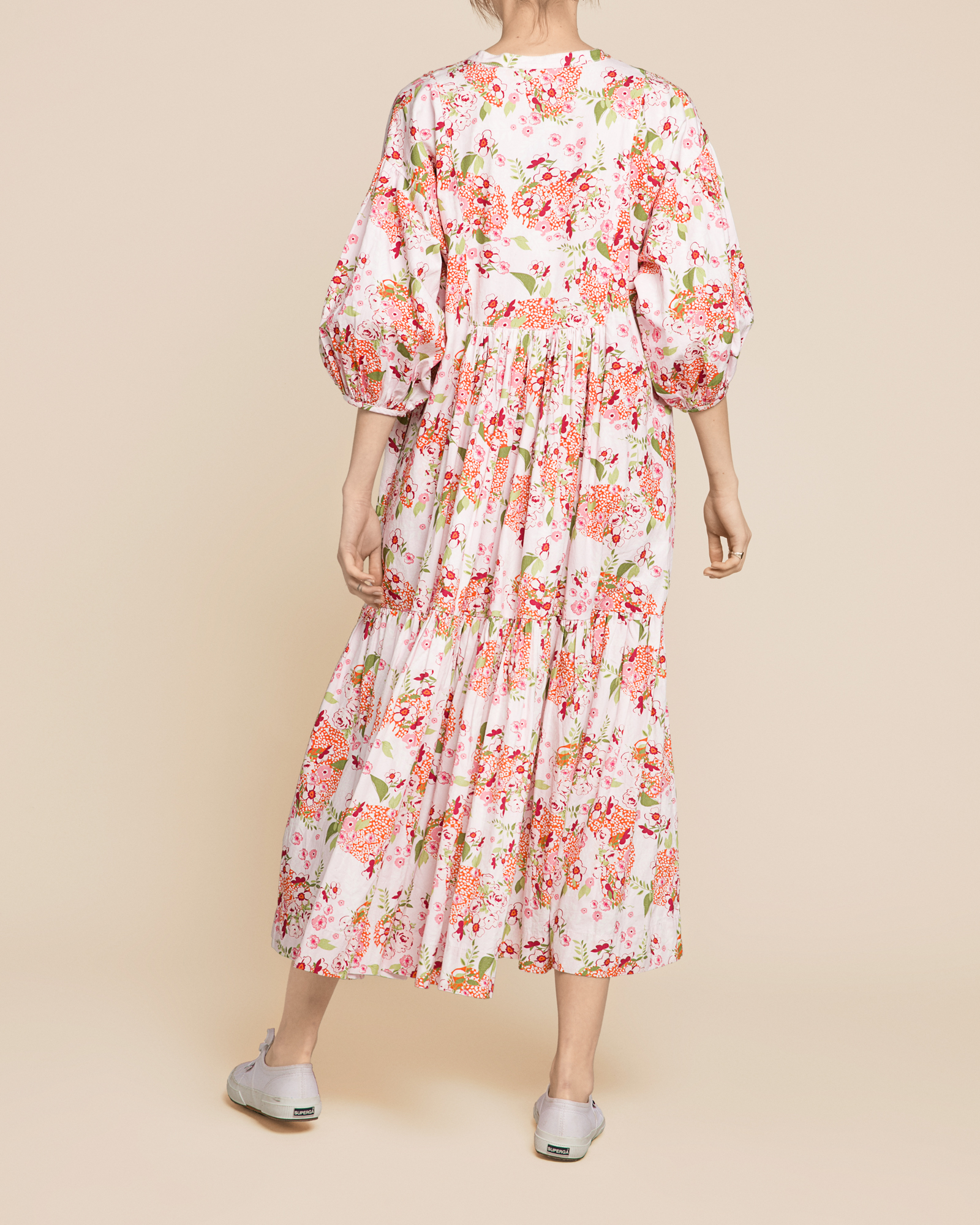 Structured Cotton Midi Dress Lilac Bouqet