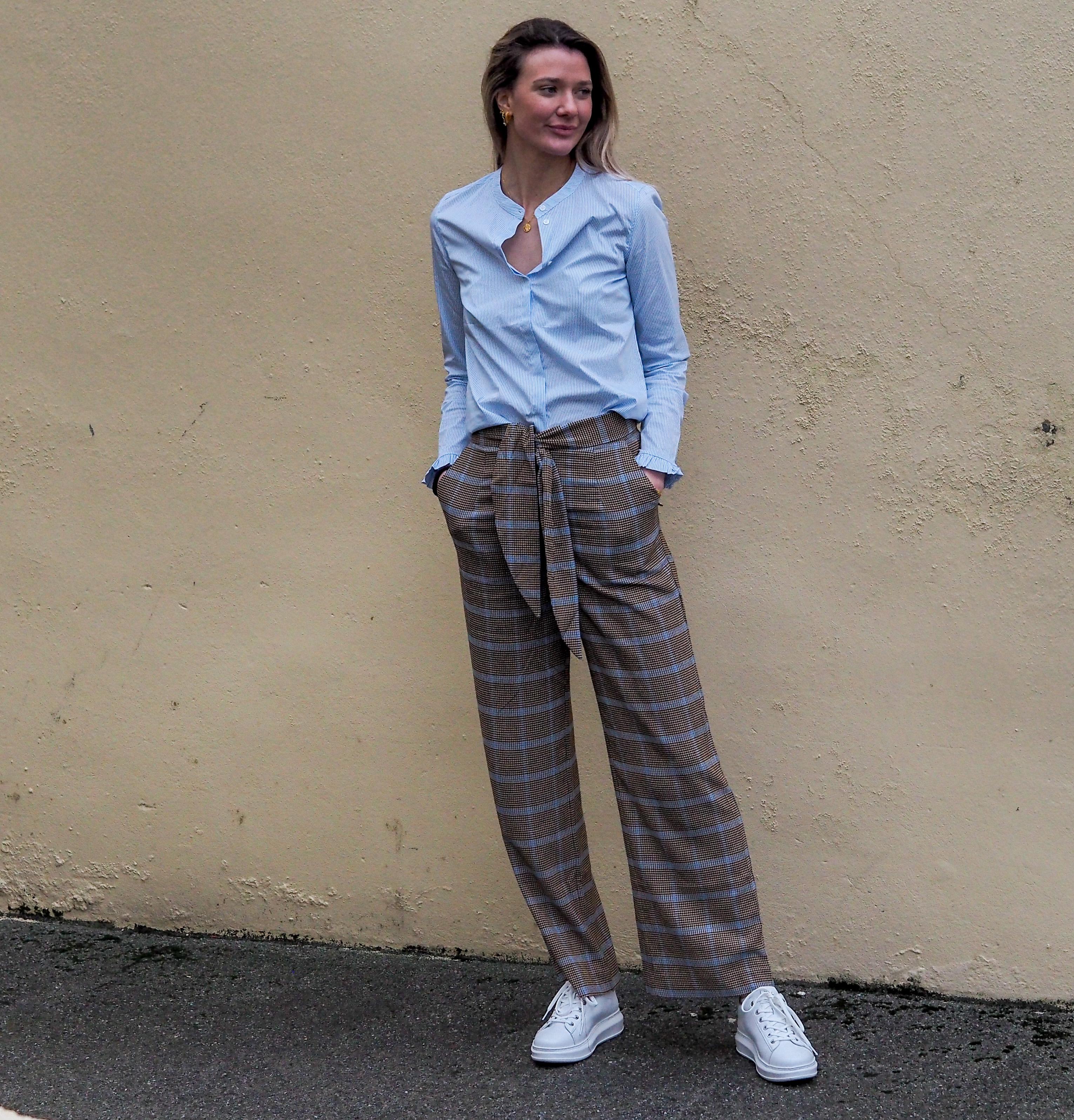 Checked Seersucker Trousers