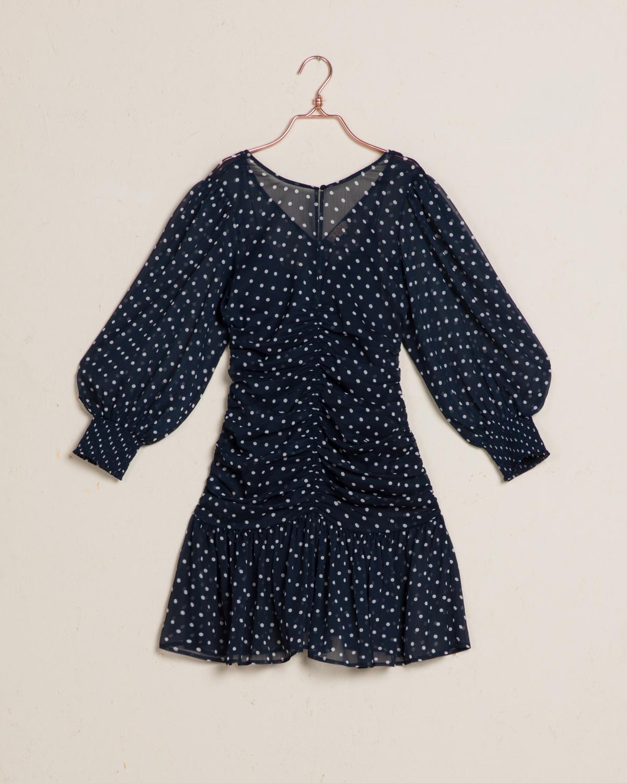 Chiffon Rouch Mini Dress Blue Dots
