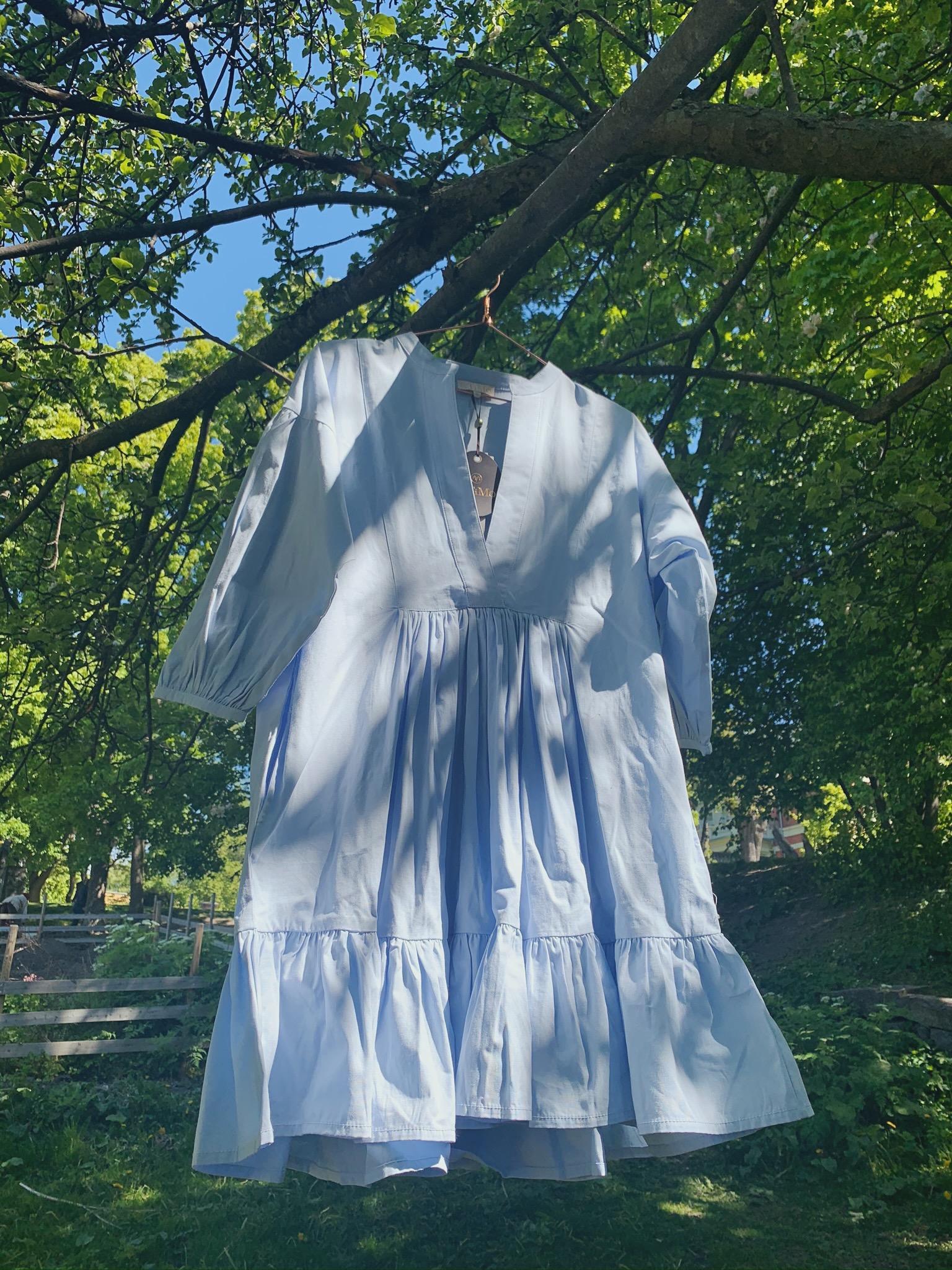 Structured Cotton Shift Dress Light Blue