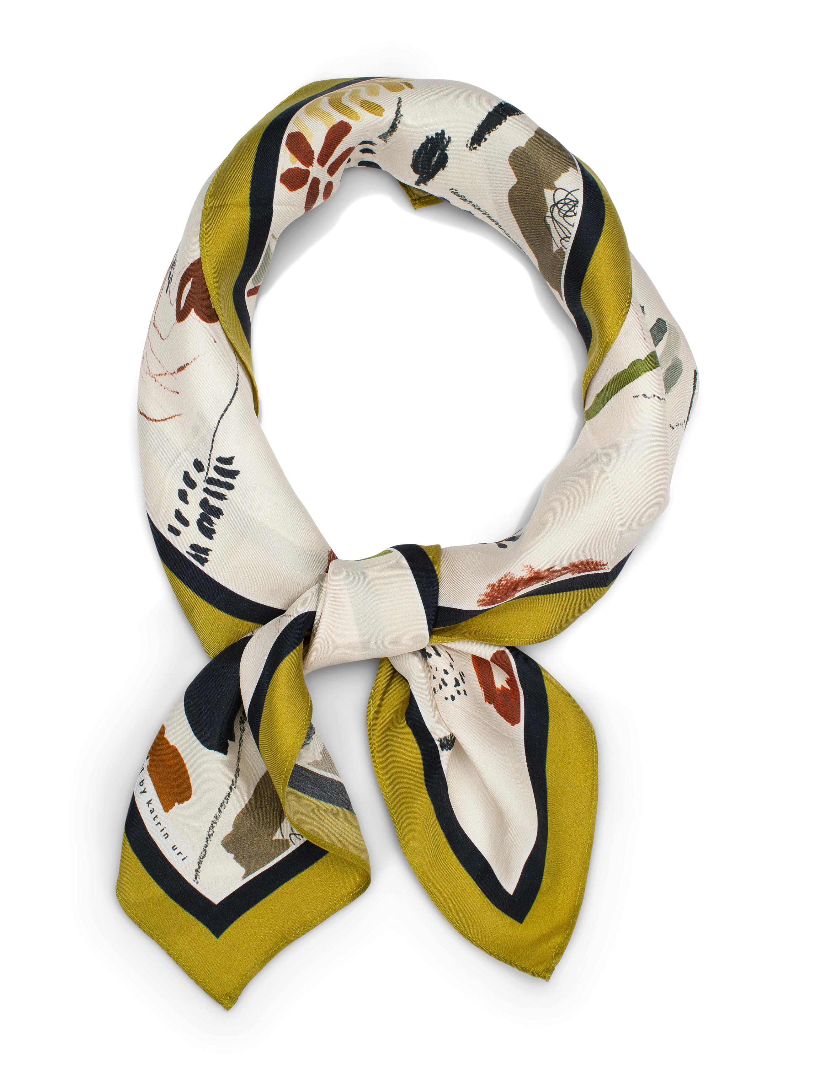 Memories olive silk scarf
