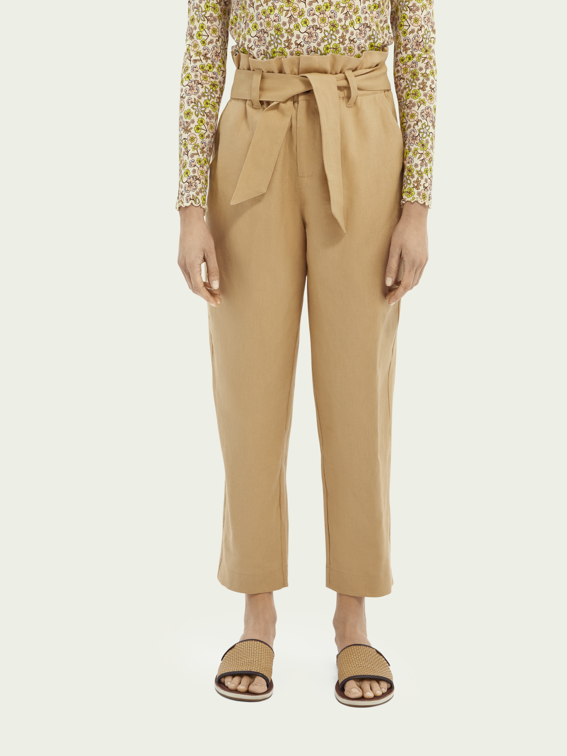 Paperbag linen trousers