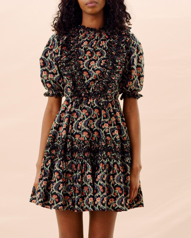 Cotton slub mini frill dress