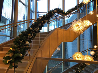 Omni Hotel Christmas Decor for Stairs