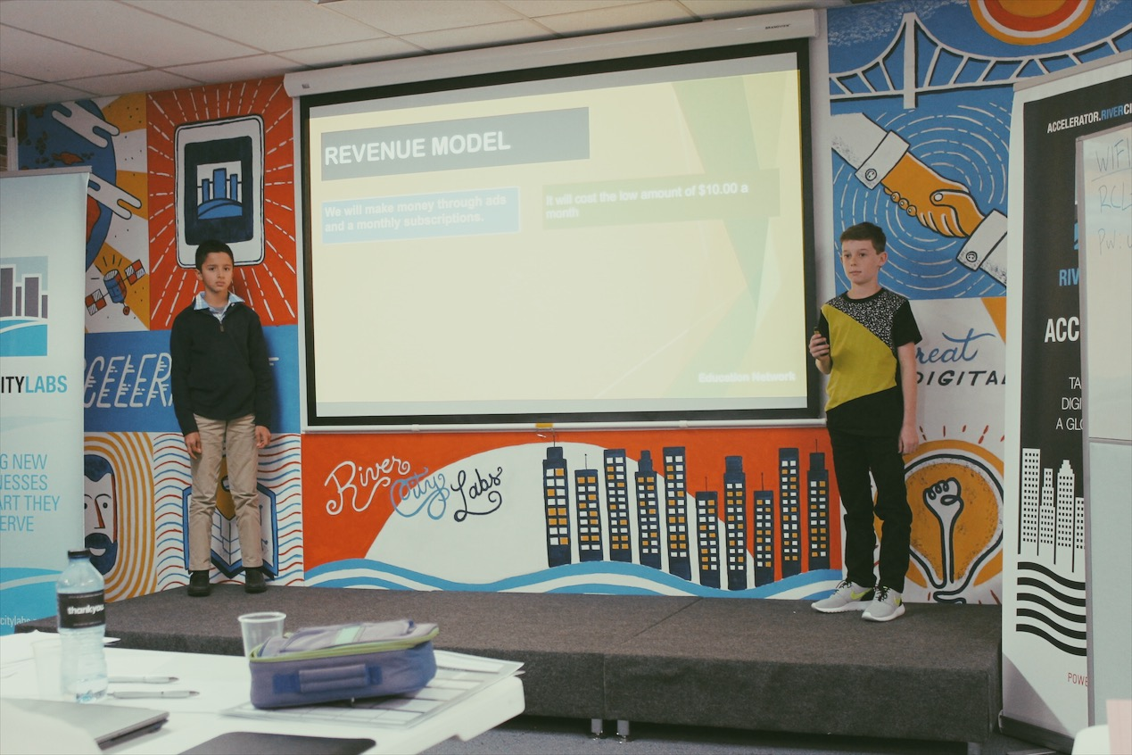 Lemonade Stand Workshop - two boys pitch their startup