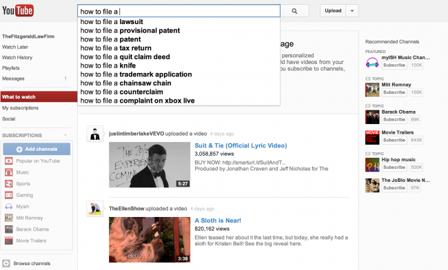 YouTube suggest tool