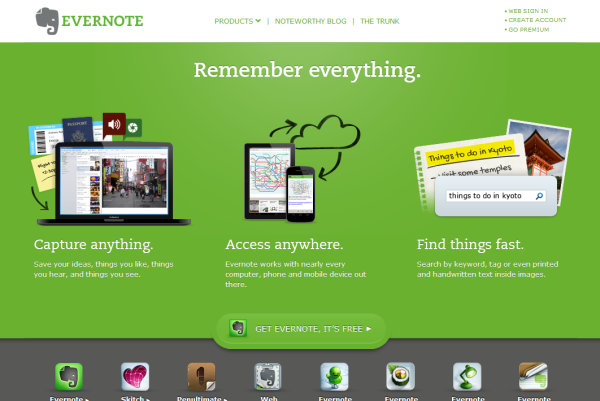 evernote homepage