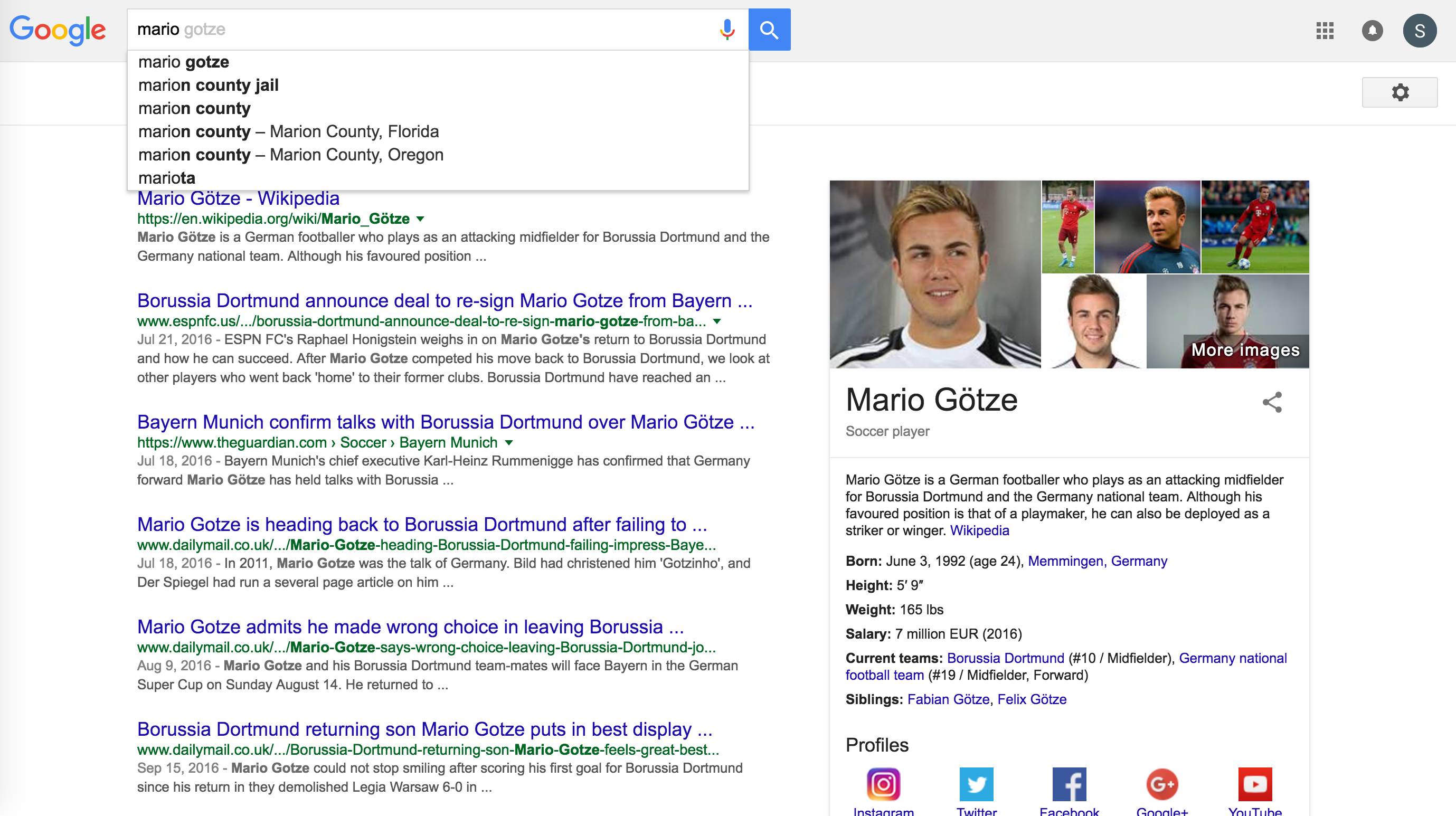 Mario search results