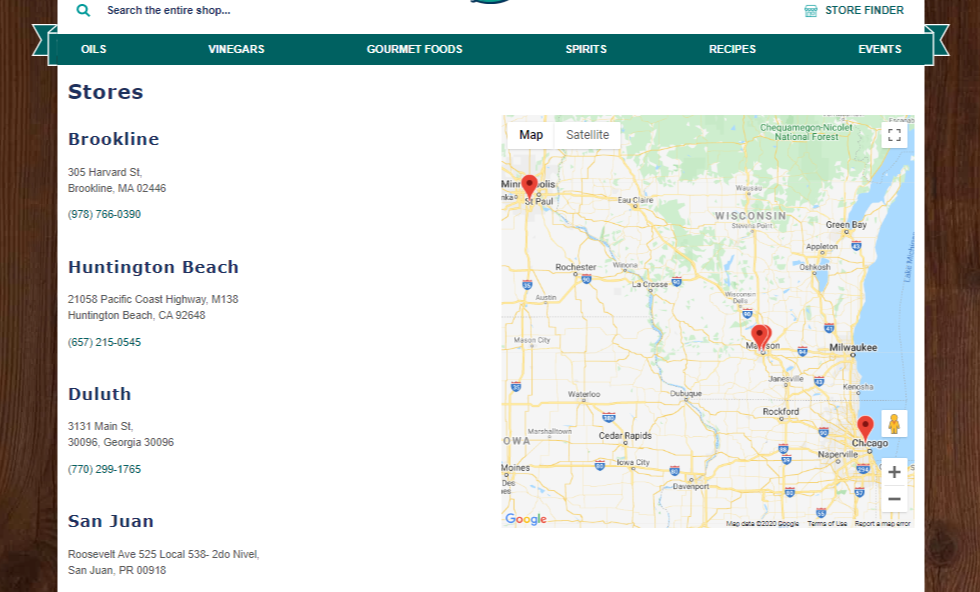 Franchise location page