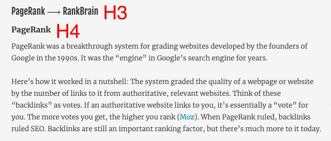 H tag hierarchy