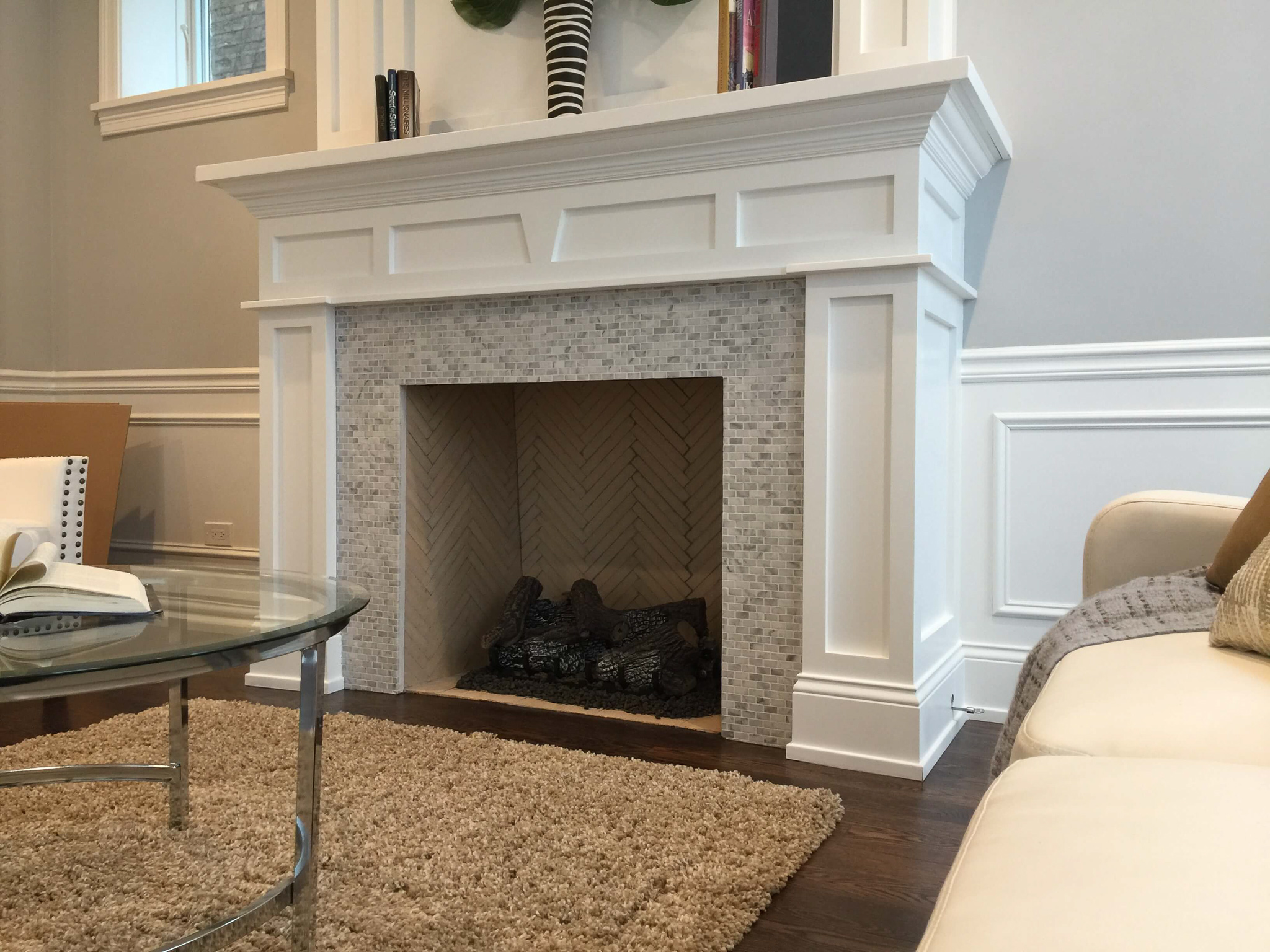 Fireplace (Mosaic Tile Surround, Brick Herringbone Firebox)