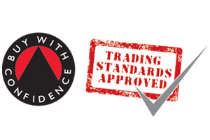 A picture of a logo that shows Smart Aerials and Trading Standards approved
