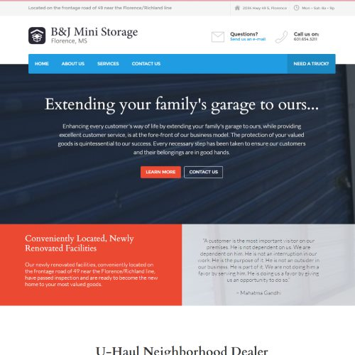 Web Design for B&J Storage
