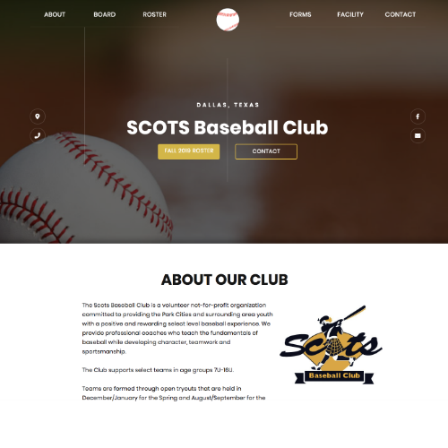 Web Design for Scots Baseball