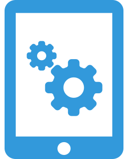 Tablet Icon with settings gears