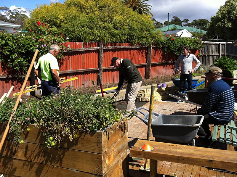 residents working in garden