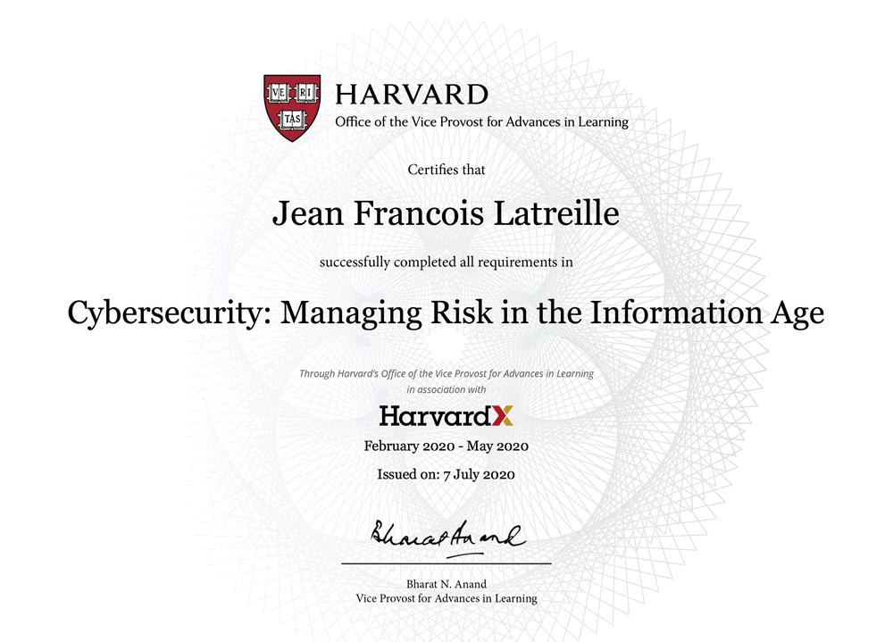 Formation en cybersécurité de Harvard