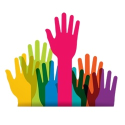 raised hands icon with link to volunteer