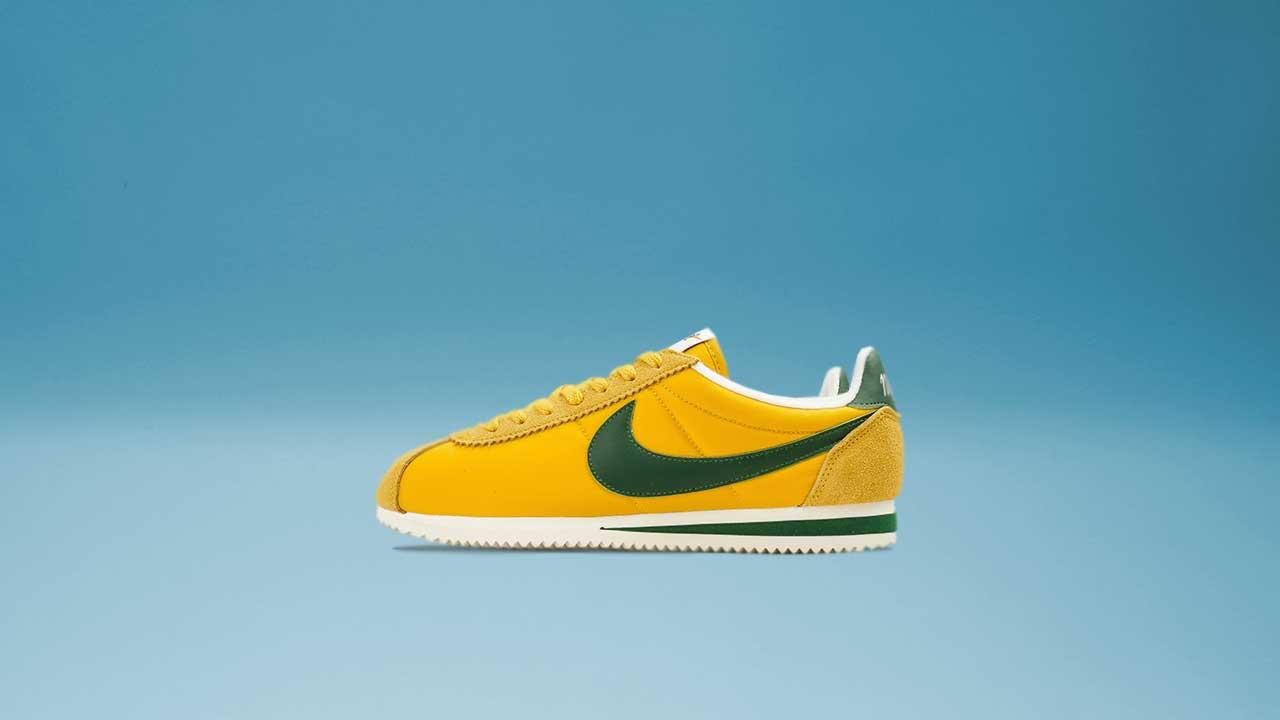 new product 28a90 b0f15 Nike Classic Cortez Nylon (Yellow   George Green   Sail)