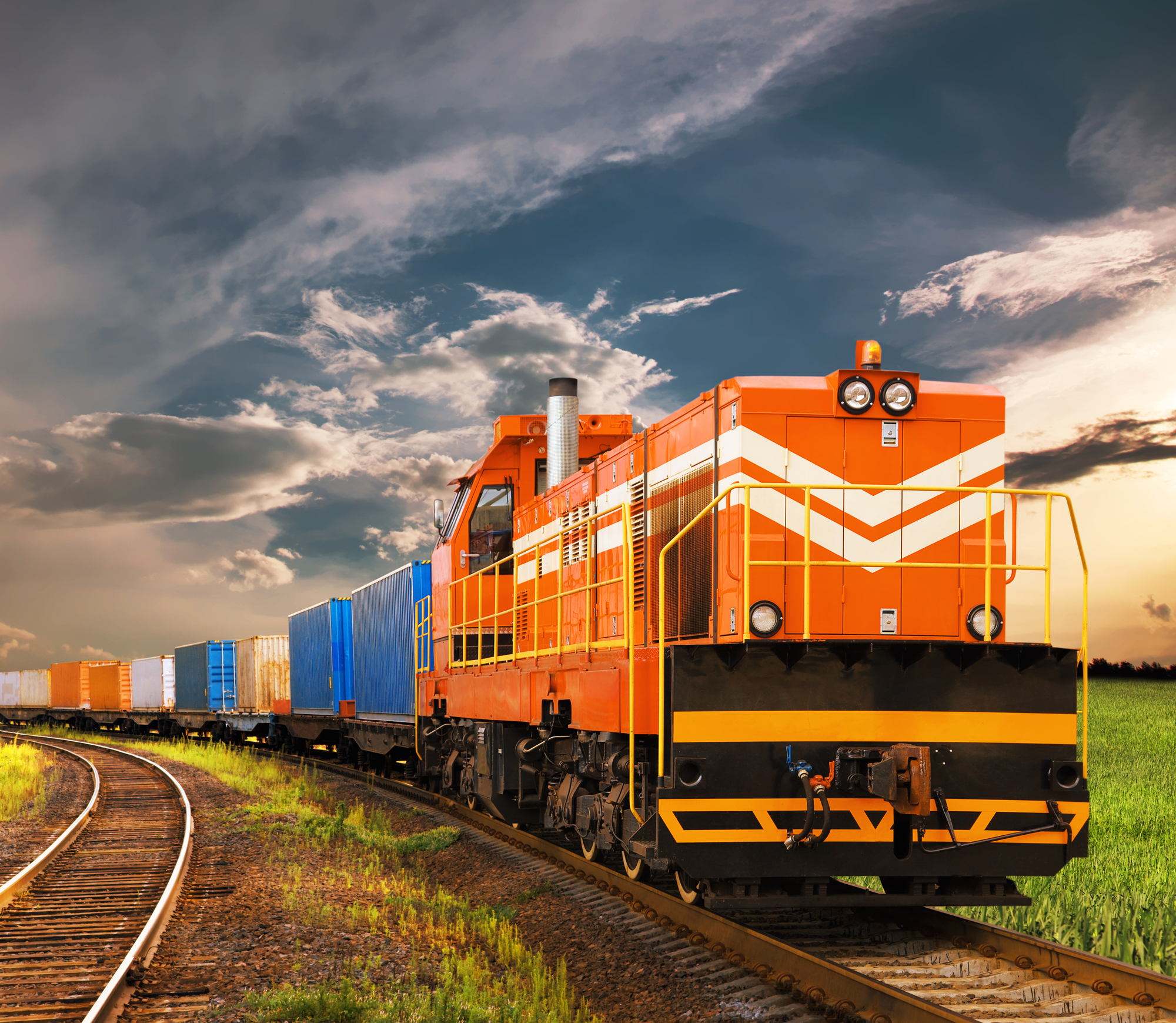 Freight train pulling containers
