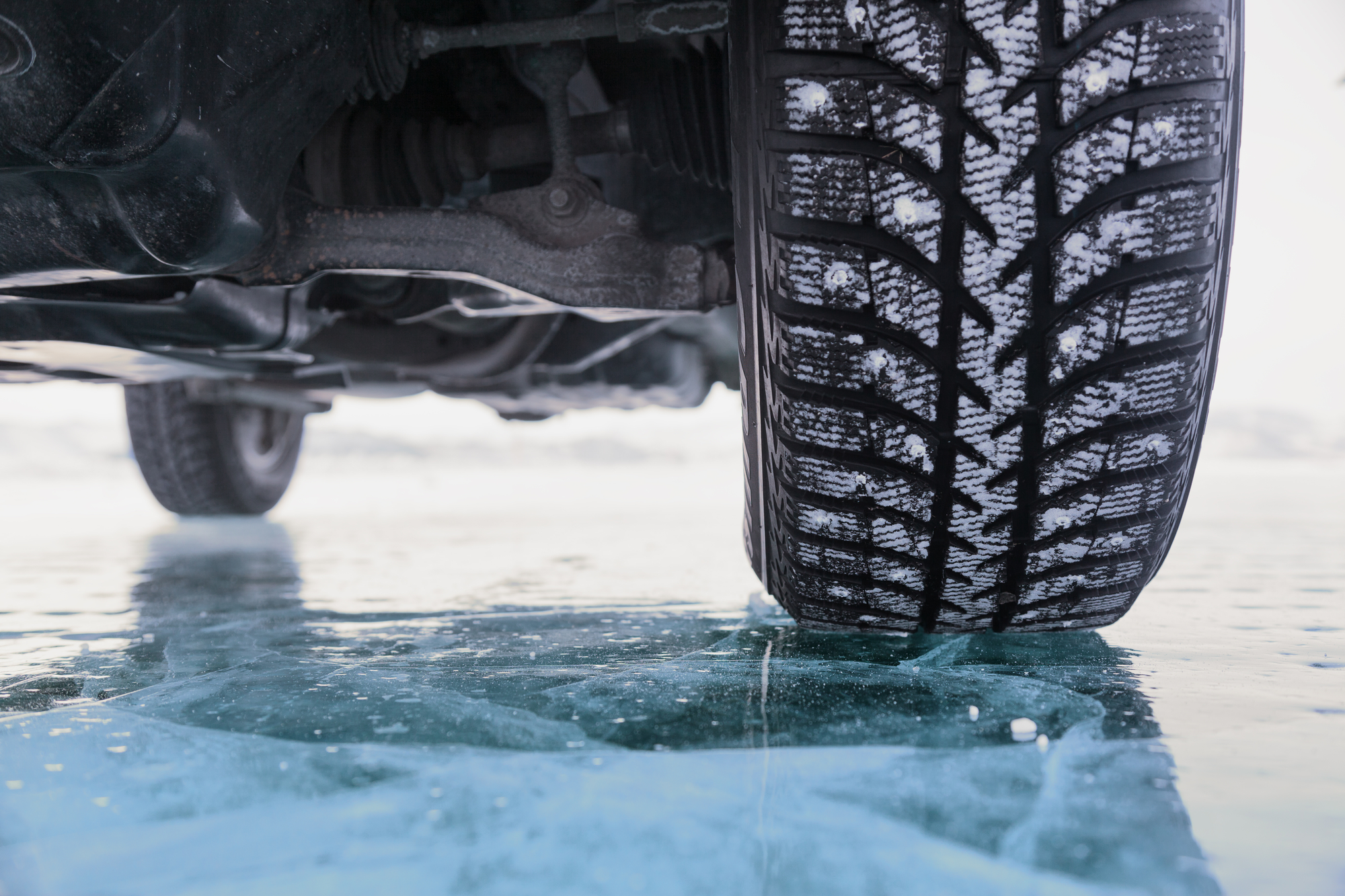 Truck tires on an icy road