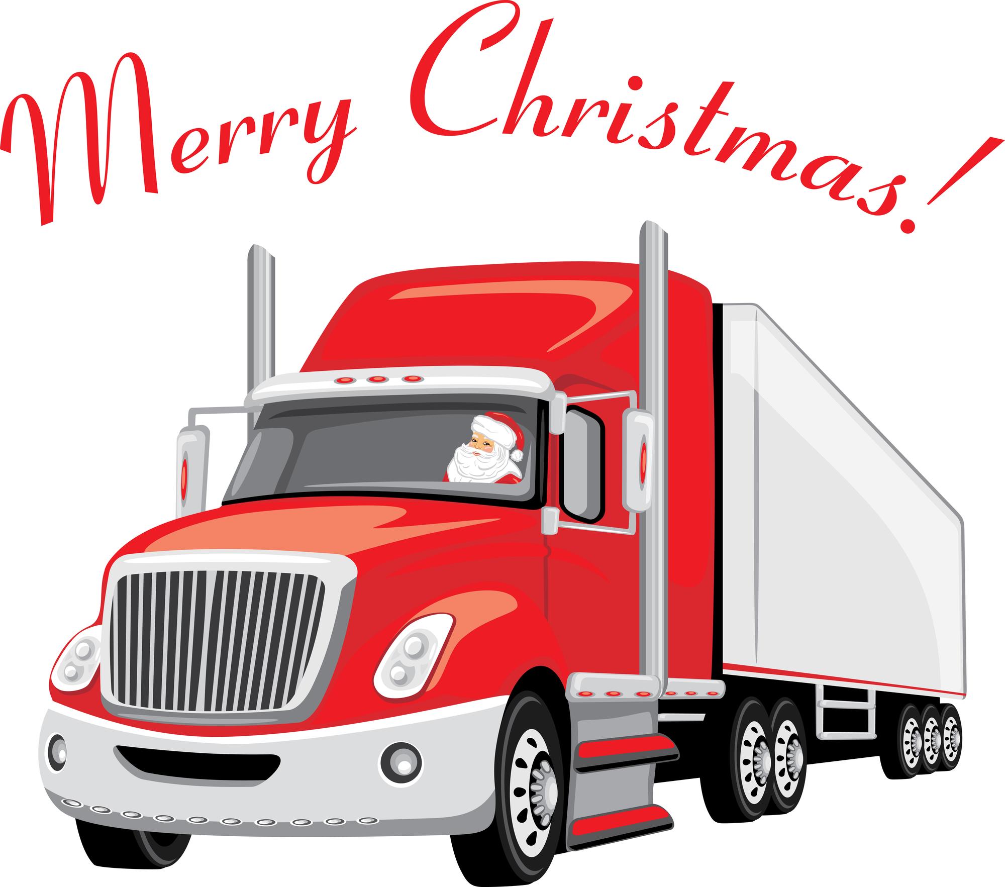 Santa driving a semi truck
