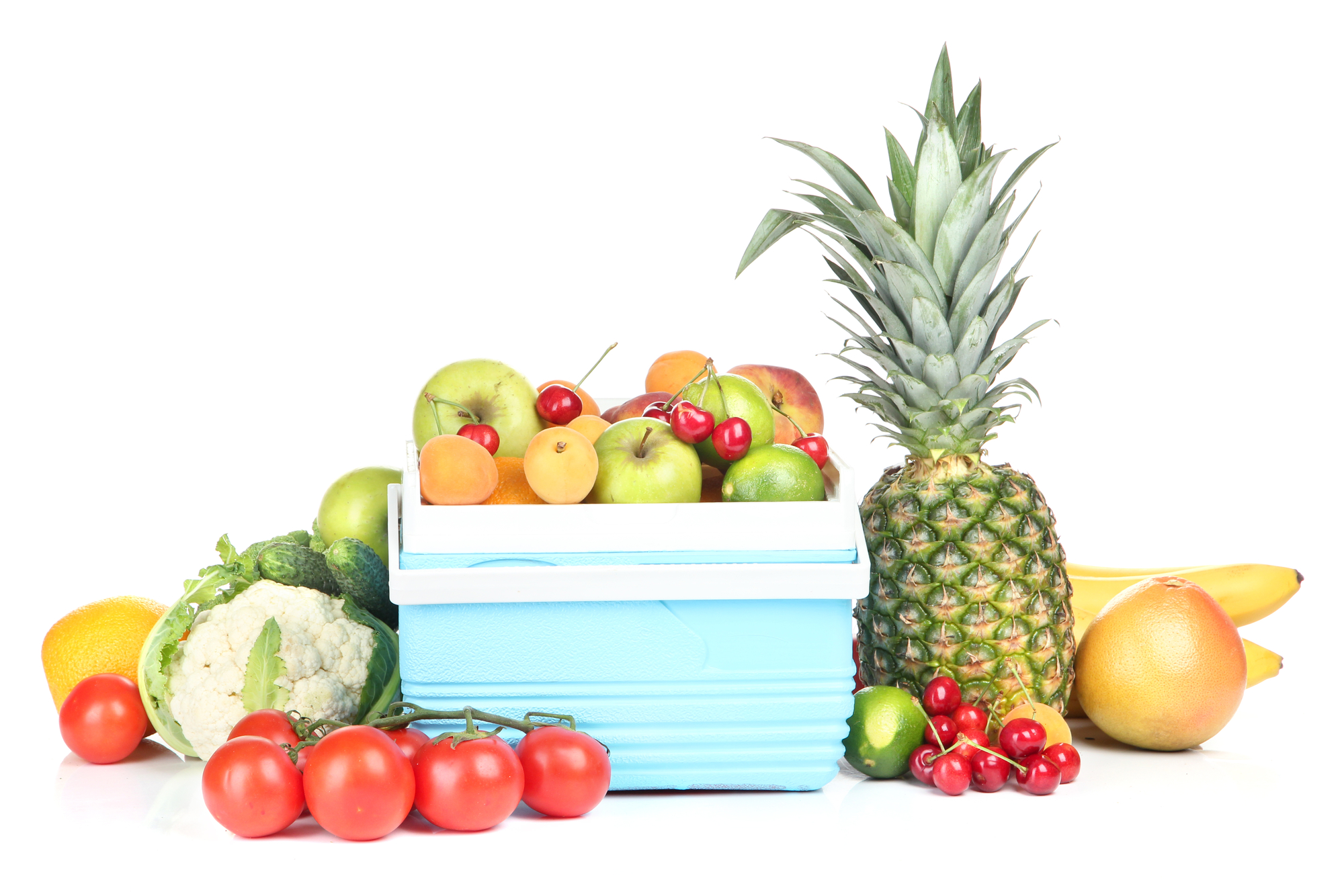 Fruits and vegetables with a cooler