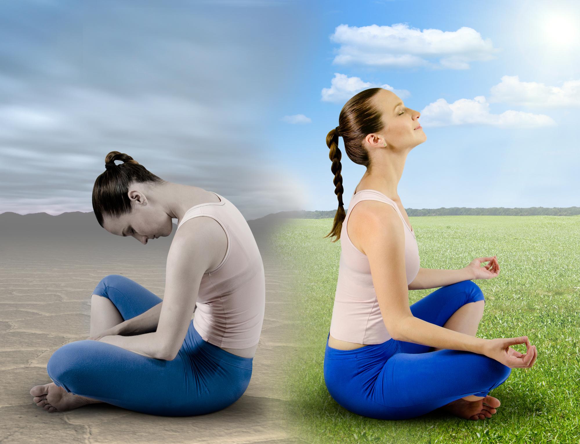 A women feels happier after meditating