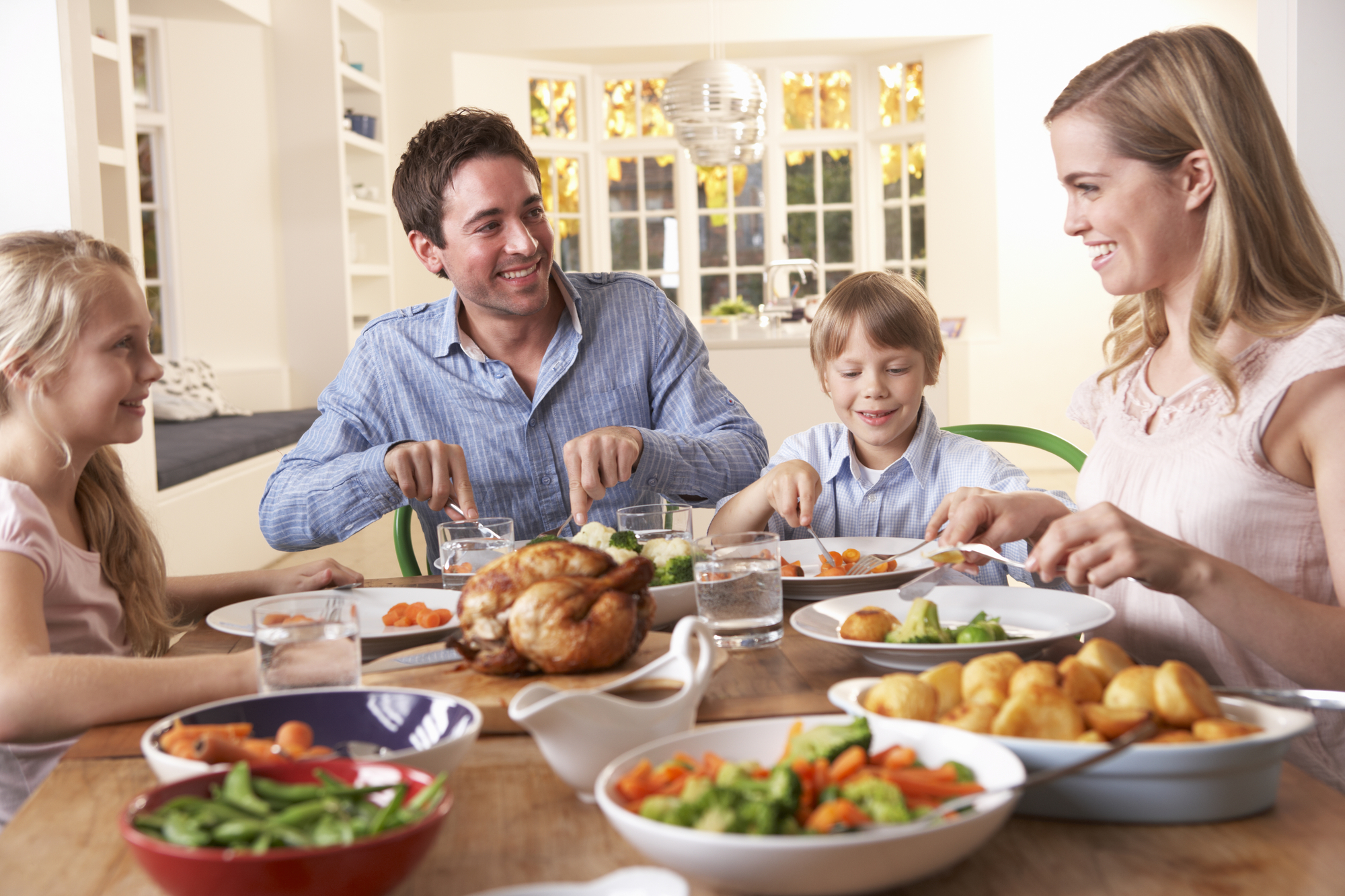 A family enjoys a meal together