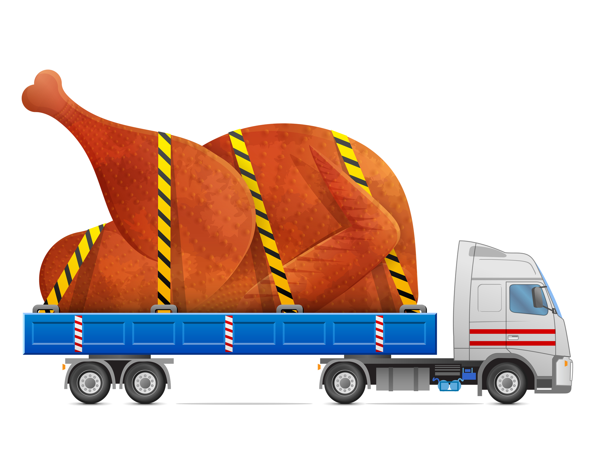 A vector of a truck hauling a giant turkey