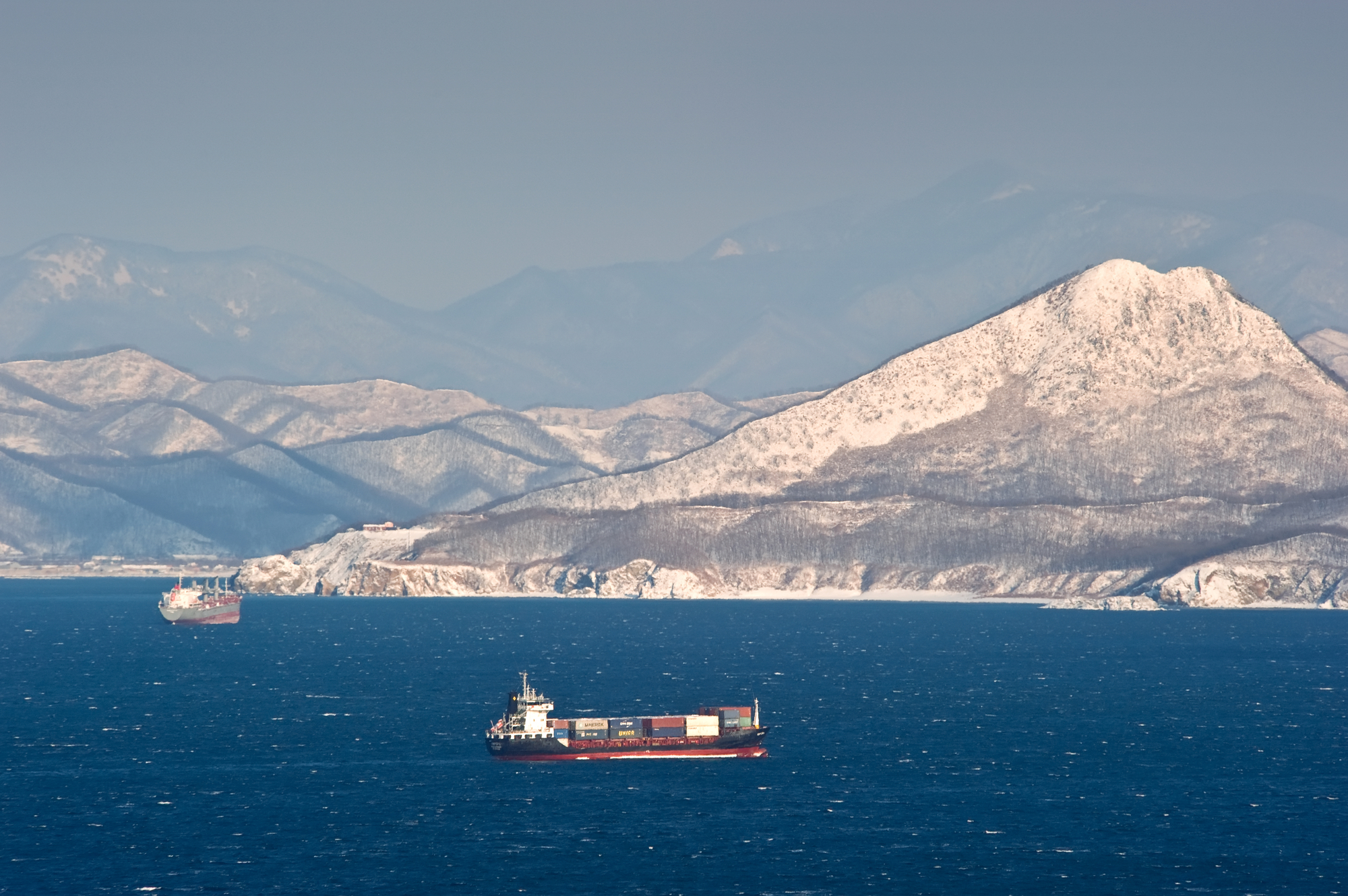 Shipping containers out at sea