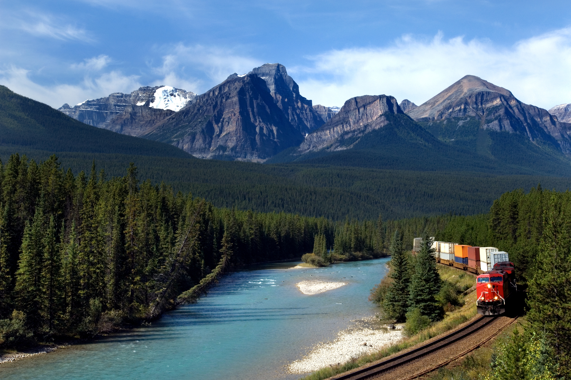 A train traveling over a scenic region