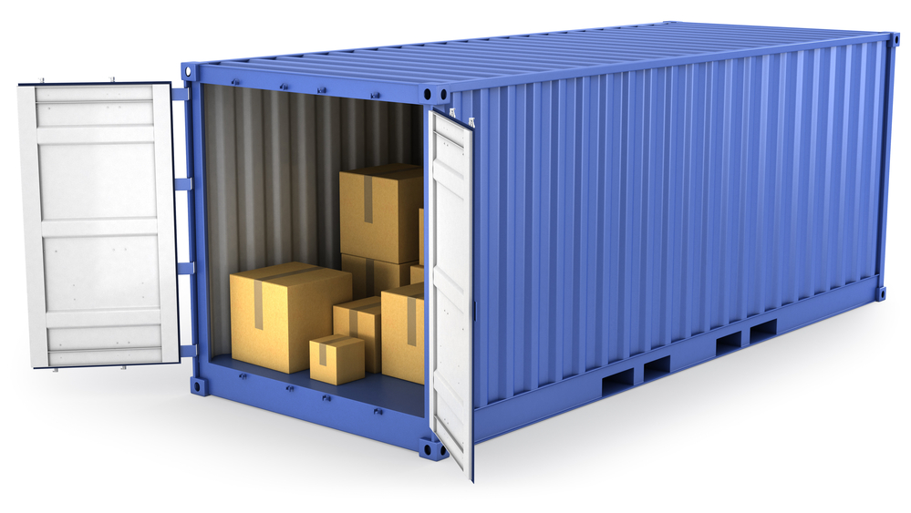 A container stocked with boxes