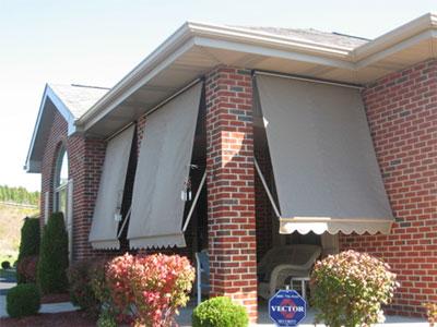 awning on brick