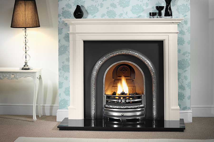 Washington Limestone Mantel with Arched Insert Grate Fireplaces