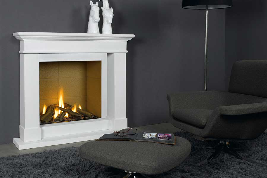 Caradoc Mantel with Trimline 73h Gas Fire Grate Fireplaces
