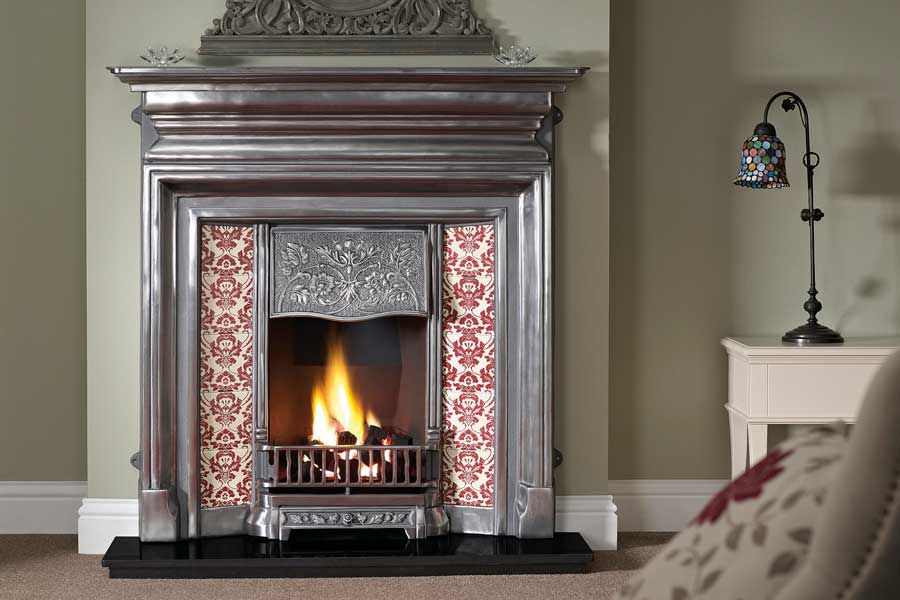 Langley Polished Tiled Combination Grate Fireplaces