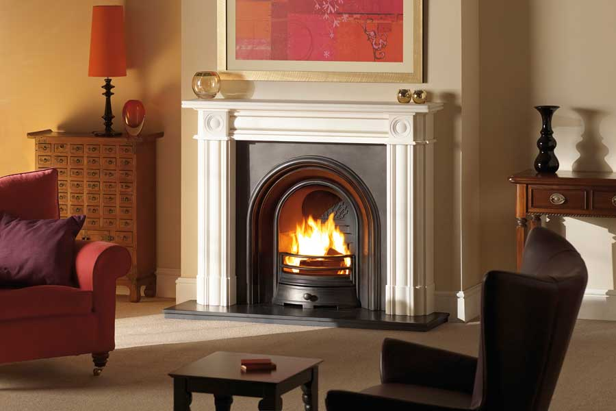 Regent Limestone Mantel with Arched Insert Grate Fireplaces