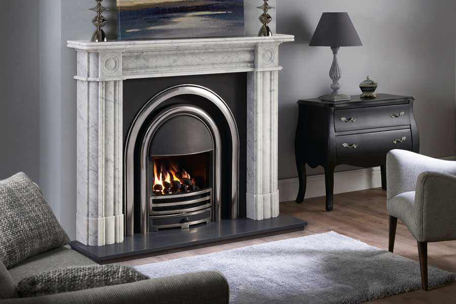 Regent Marble Mantel with Arched Insert Grate Fireplaces