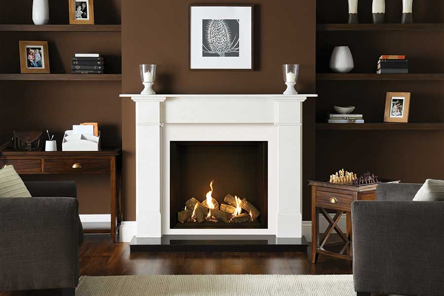 Gazco Riva2 750 in Claremont Mantel Grate Fireplaces