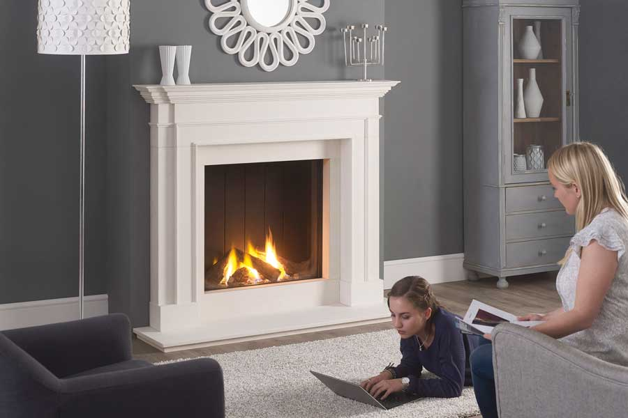 Clarence Limestone Mantel with Trimline 73h Gas Fire Grate Fireplaces