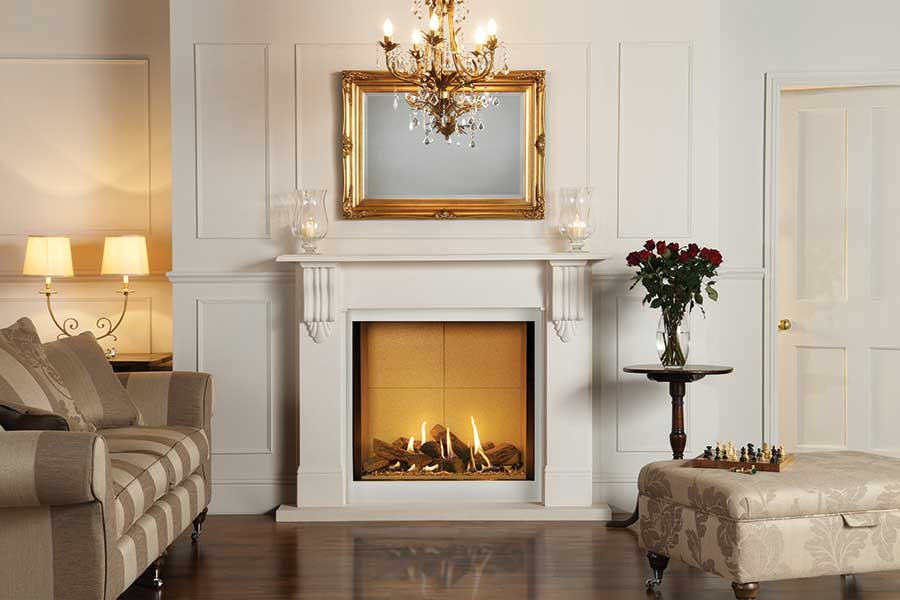 Victorian Corbel Mantel with Gazco Riva2 800 Grate Fireplaces