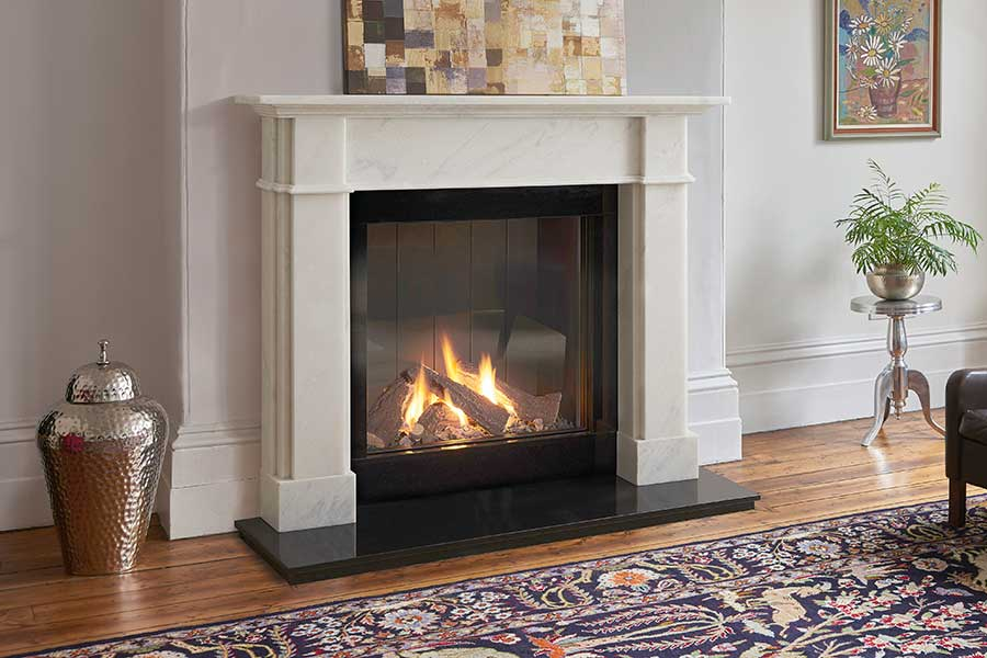 Roseland Venetian Marble Mantel with 73h Gas Fire Grate Fireplaces