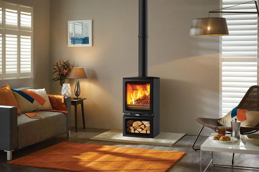 Vogue Woodburner with Optional Wood Store Base Grate Fireplaces