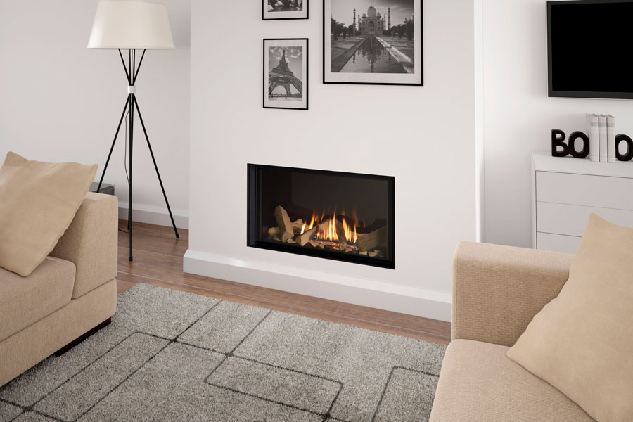 Infinity 780FL with Black Glass Liner at Grate Fireplaces