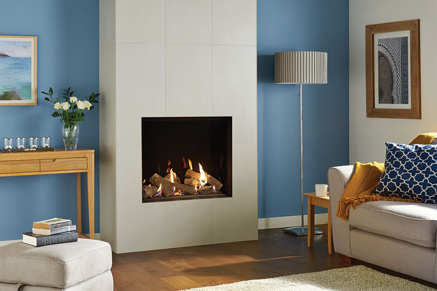 Riva2 750HL Edge with Black Glass at Grate Fireplaces