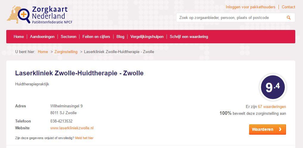 Een 9.4 op Zorgkaart Nederland! Daar doen we het voor bij Laserkliniek Zwolle.