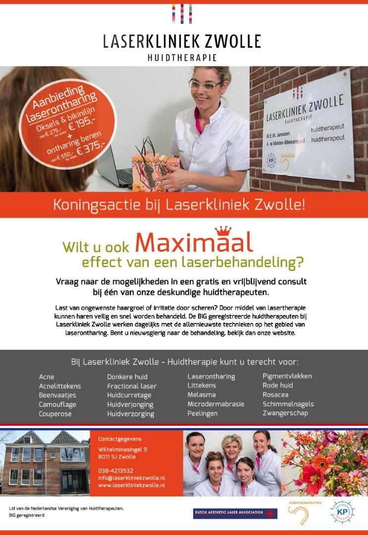 Aanbieding bij Laserkliniek Zwolle: Profiteer deze maand nog van de 'laseronthaar' Koningsactie bij Laserkliniek Zwolle.