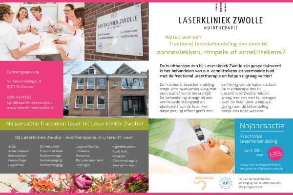 Najaarsactie bij Laserkliniek Zwolle-Huidtherapie. Fractional laserbehandeling van € 290,00 voor € 250,00 p.b.